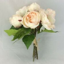 Pale Pink Peony Bundle Bouquet Wedding Flowers Craft Home Handtied Silk 7 Stems