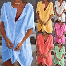 Plus Size Women Short Sleeve Cotton Baggy Blouse Shirt Dress Summer Tunic Top UK
