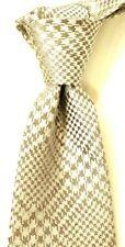"""$225 ISAIA Napoli 7 Fold Metallic Gray Houndstooth Silk Tie NWT 3.25"""" W"""
