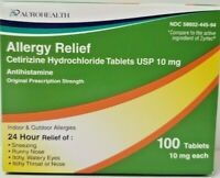Aurohealth Cetirizine HCL 10mg Tablets, 100ct -Expiration Date 07-2021