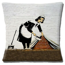 """NEW Banksy Graffiti Artist Maid Cleaning Sweeping Up 16"""" Pillow Cushion Cover"""