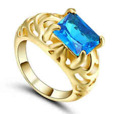 US SELLER Luxury Jewelry AQUAMARINE Gem Women yellow GOLD filled SIZE 8 Ring