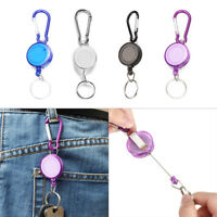 New Stainless Pull Ring Retractable Key Chain Recoil Keyring Heavy Duty Steel