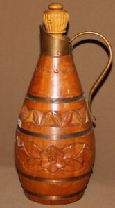 Vintage hand carved wood pitcher bottle