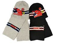 Boys Spiderman Hat and Scarf Set 52cms and 54cms Navy or Grey Christmas Gift