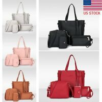 4pcs/set Women Ladies Leather Handbag Shoulder Tote Purse Satchel Messenger Bags