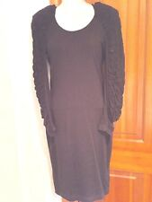 H&M BLACK JERSEY DRESS-SCOOP NECK LONG BUBBLE EMBELLISHED SLEEVES NEW SIZE 4