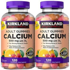 Kirkland Signature Calcium 500 mg with D3, 240 Adult Gummies