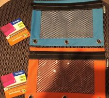 Brand New Ring Pencil Pouch with Mesh Window set of 2 with tag Orange / Blue