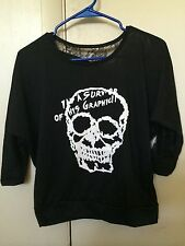 New Korean Women Skull Batwing Long Sleeve T-shirt  Blouse Black Lace Loose Tops
