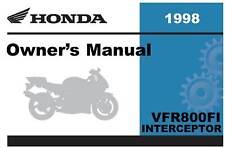 Honda 1998 VFR800FI Interceptor Owner Manual 98