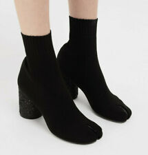 MAISON MARTIN MARGIELA split toe glitter heel black knit sock tabi boots 41 NEW