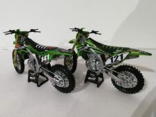 New Ray Toys Kawasaki BUD Racing Motocross Bike model - 1/12 Scale 2 Model Pack