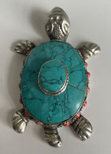 """Vintage Tibetan Nepali Silver Turtle w Turquoise Inlay And Coral Pendant 3"""""""