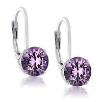 Sterling Silver Genuine Birthstone Gemstone 4 Prong LeverBack Earrings Round 6mm