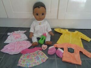 luvabella doll bundle-interactive doll-moves/sounds+lots of clothes,dummy+bottle