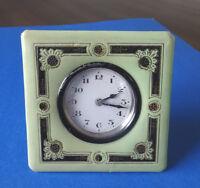Mantle Clock, Unique Vintage Black & Green Floral Clock Made In Germany