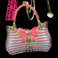 Betsey Johnson AB Crystal Pink Purse Gold Pendant Chain Necklace Free Gift Bag