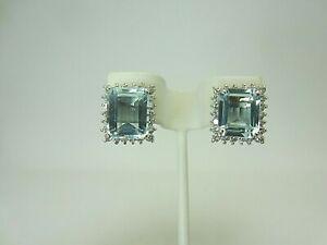 14k White Gold 9.81 ct Aquamarine and Diamond Earrings 11.49 ct TW Omega backs