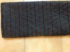 FABRIC  BLACK  WITH SELF STRIPE & SPOT DESIGN & GOLD  METALLIC STRIPE 2.5 m x1.5