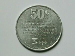 McDonald's Canada 1983 Aluminum Token Good For 50 Cents Off Sandwich with a Coke
