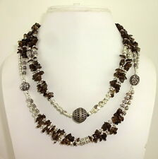 NATURAL SMOKY QUARTZ BEADED GEMSTONE CHIPS NECKLACE 98 GRAMS