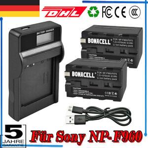 2× 8700mAh NP-F960 Akku + LCD Ladegerät für Sony NP-F970 NP-F750 NP-F550 NP-F950