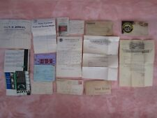 LOT~Old Docs~Invoices/Advertisements~Livery/Horse/Harness/DR Hess/Clark~Meats~