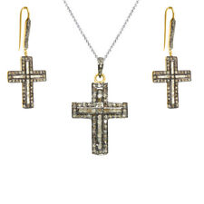 Religious Gemstone Cross Earring Pendant Set Women Sterling Silver Jewelry Gift