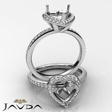 Diamond Engagement Heart Ring 18k White Gold Halo Pave Setting Semi Mount 1Ct