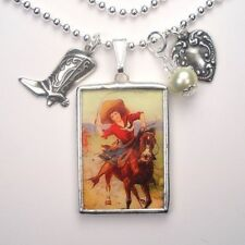 Horse Necklace Cowgirl Jewelry Reversible Vintage Charm Pendant Handcrafted