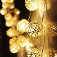 20 LED Rattan Ball String Light Fairy Lamp Wedding Xmas Party Home Garden Decor