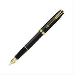 Perfect Parker Pen Sonnet Series Bright Black/Gold Clip Medium Nib Fountain Pen