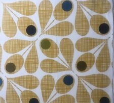 Orla Kiely Acorn Cup Scribble Olive FQ 50cm Square Mustard Yellow Fabric NEW