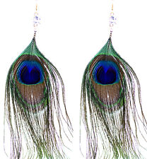 Boho Style cristallo e piuma di pavone occhio Dangle Earrings