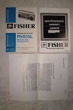 Bedienungsanleitung Anleitung für Kassettenrecorder Fisher PH 835 L