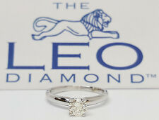 0.49 ct 14k White Gold & Platinum Leo Round Diamond Solitaire Engagement Ring