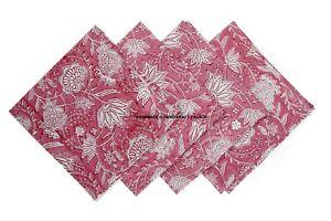 Hand Block Print 100%Cotton Voile Fabric Table Napkins Floral Indian Set 4 Pcs