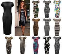 New Ladies Women's PVC Camouflage Printed Midi Bodycon Dress UK Plus Size 8-26