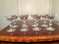 Lot of 8 Signed HAWKES Crystal Glass Stemmed Champagne Wine Glasses Sherbets EUC