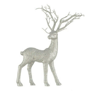Darice Christmas Standing Reindeer Decor: Silver Glitter, 12.5 x 15.5 inches w