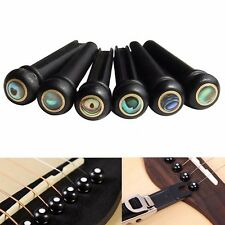 6Pcs Abalone Ebony Guitar Bridge Bone Pins Set For Acoustic Guitar String Pegs