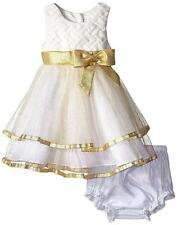 Rare Editions Baby 18m Ivory GOLD SPARKLE Dress Flower Girl Holiday Birthday $60
