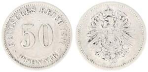 50 Pfennig Kaiserreich 1877 B fast ss 35094