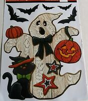 HALLOWEEN Window Clings   GHOST WITH BLACK CAT