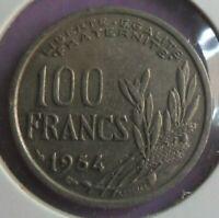 100 Francs Cochet 1954 : TB : pièce de monnaie Française N1