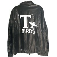 Rubies T Birds GREASE Full Zip Black Leather Jacket Collared Men's One Size
