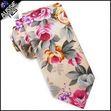 Pale Peach with Floral Men's Slim Tie