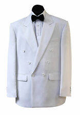 NEW MENS STYLISH DOUBLE BREASTED WHITE SUIT JACKET AND TROUSERS