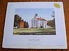 Randall Higdon Print Grand Traverse Light Lighthouse Lake Michigan Signed 1997
